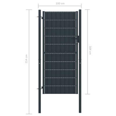 vidaXL Poartă de gard, antracit, 100x164 cm, PVC și oțel