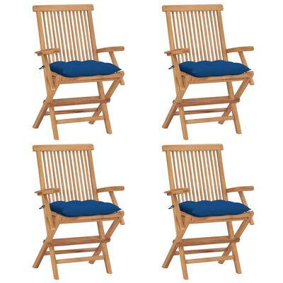 vidaXL Scaune de grădină cu perne albastre, 4 buc., lemn masiv de tec