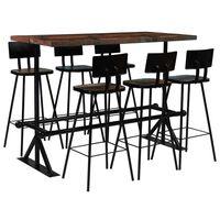 vidaXL Set mobilier de bar, 7 piese, multicolor, lemn masiv reciclat
