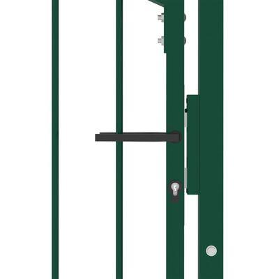 vidaXL Poartă de gard cu țepușe, verde, 100x125 cm, oțel