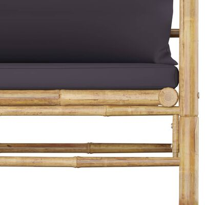 vidaXL Set mobilier de grădină, 8 piese, perne gri închis, bambus