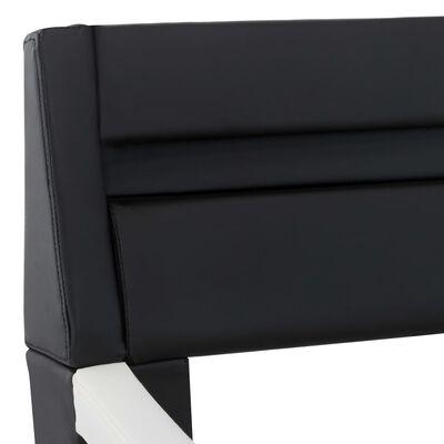 vidaXL Cadru pat cu LED, negru și alb, 140 x 200 cm, piele ecologică