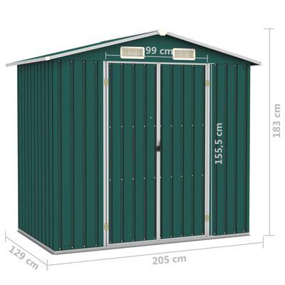 vidaXL Șopron de grădină, verde, 205 x 129 x 183, oțel galvanizat