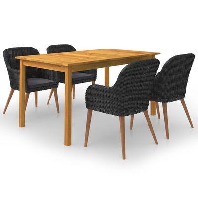 vidaXL Set mobilier de grădină, 5 piese, negru
