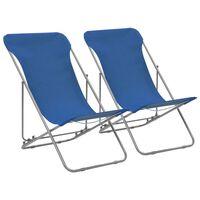 vidaXL Scaune de plajă pliabile 2 buc. albastru oțel & țesătură oxford