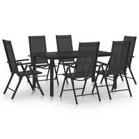 vidaXL Set mobilier de grădină, 7 piese, negru, aluminiu