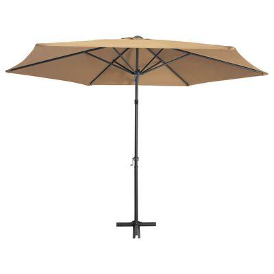 vidaXL Umbrelă de soare de exterior, stâlp din oțel, gri taupe, 300 cm