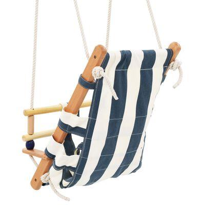 vidaXL Leagăn bebeluș cu centură siguranță, albastru, bumbac, lemn
