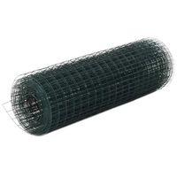 vidaXL Plasă de sârmă găini, verde, 10 x 0,5 m, oțel cu înveliș PVC