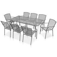 vidaXL Set mobilier de exterior, 9 piese, antracit, oțel