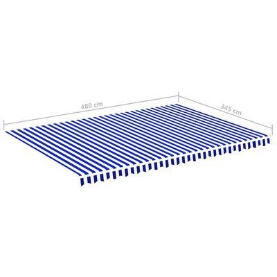 vidaXL Pânză de rezervă copertină, albastru și alb, 5x3,5 m