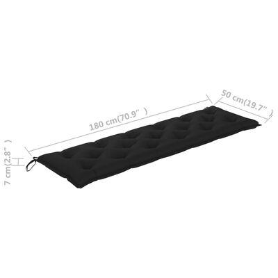 vidaXL Bancă de grădină cu pernă neagră, 175 cm, lemn masiv tec