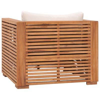 vidaXL Fotoliu de grădină cu perne crem, lemn masiv de tec