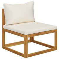 vidaXL Canapea modulară de mijloc, perne alb crem, lemn masiv acacia