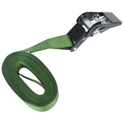 vidaXL Chingi de fixare cu clichet, 20 buc., verde, 6 m, 800 daN
