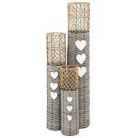 vidaXL Suport de lumânări vertical, 3 buc., răchită
