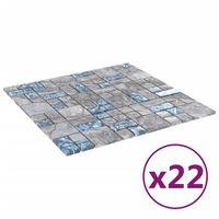 vidaXL Plăci mozaic autoadezive 22 buc. gri&albastru, 30x30 cm, sticlă