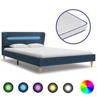 vidaXL Pat cu LED și saltea spumă memorie albastru 120 x 200 cm textil
