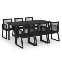 vidaXL Set mobilier de exterior, 7 piese, negru, ratan PVC
