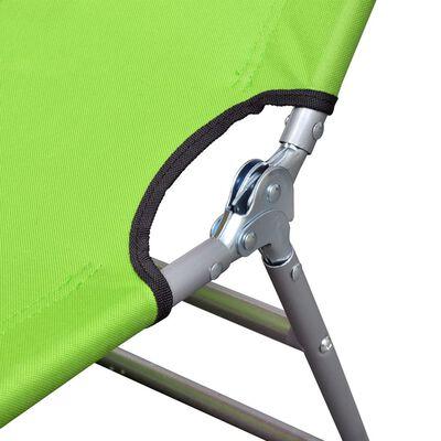 Șezlong verde măr pliabil pentru plajă, cu tetieră și spătar reglabil
