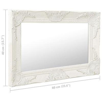 vidaXL Oglindă de perete în stil baroc, alb, 60 x 40 cm