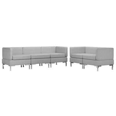 vidaXL Set de canapele, 5 piese, gri deschis, material textil
