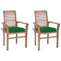 vidaXL Scaune de masă cu perne verde, 2 buc., lemn masiv tec