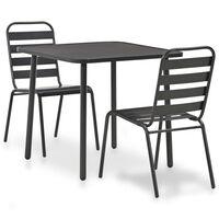 vidaXL Set mobilier de exterior, 7 piese, gri închis, oțel