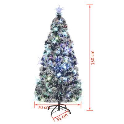 vidaXL Brad artificial de Crăciun cu suport / LED 150 cm fibră optică