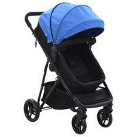vidaXL Căruț/landou pentru copii 2-în-1, albastru și negru, oțel
