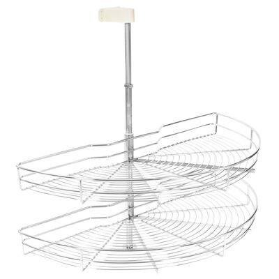 vidaXL Coș sârmă bucătărie 2 rafturi,180 grade, argintiu, 85x44x80 cm