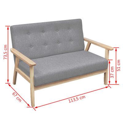 vidaXL Set canapele 2 piese Textil Gri deschis