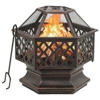 vidaXL Vatră de foc rustică, cu vătrai 62x54x56 cm oțel, XXL