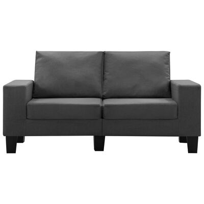 vidaXL Canapea cu 2 locuri, gri închis, material textil
