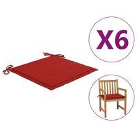 vidaXL Perne scaun de grădină, 6 buc., roșu, 50x50x4 cm, textil