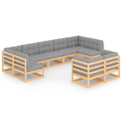 vidaXL Set mobilier de grădină cu perne, 9 piese, lemn masiv de pin