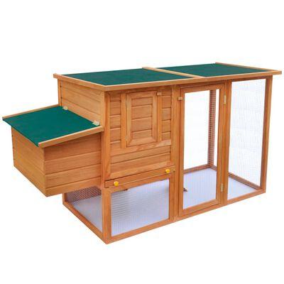 vidaXL Coteț de păsări pentru exterior adăpost găini cu 1 cuibar lemn