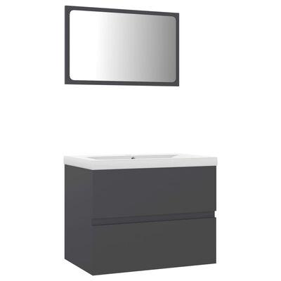 vidaXL Set mobilier de baie, gri, PAL