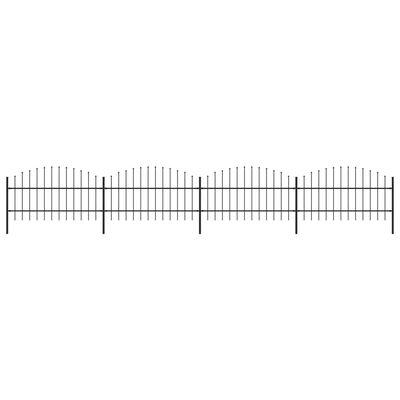 vidaXL Gard de grădină cu vârf suliță, negru, (0,75-1) x 6,8 m, oțel
