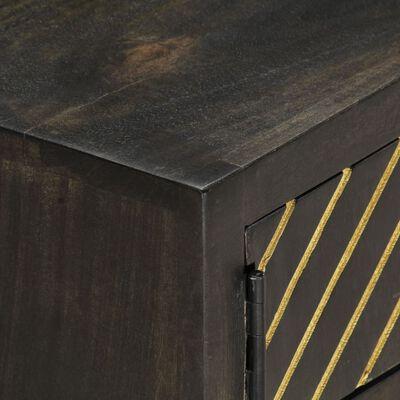 vidaXL Masă de cafea, negru și auriu, 90x50x35 cm, lemn masiv de mango