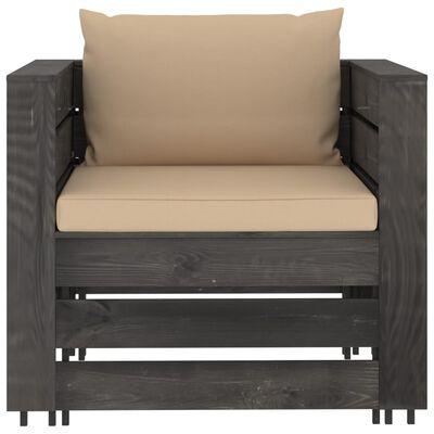 vidaXL Set mobilier de grădină cu perne, 8 piese, gri, lemn tratat