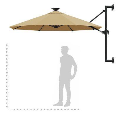 vidaXL Umbrelă soare LED montaj pe perete stâlp metal gri taupe 300cm