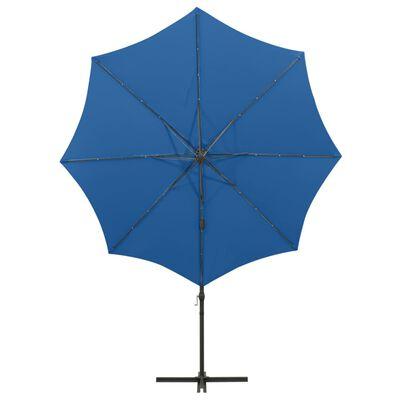 vidaXL Umbrelă suspendată cu stâlp și LED-uri, albastru azuriu, 300 cm