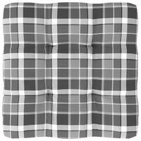 vidaXL Pernă pentru canapea din paleți, gri carouri, 80 x 80 x 12 cm