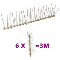 vidaXL Set bandă cu țepi antipăsări cu 5 rânduri, 6 buc., plastic, 3 m