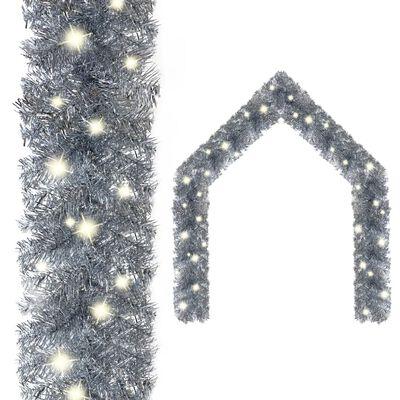 vidaXL Ghirlandă de Crăciun cu becuri LED, argintiu, 20 m