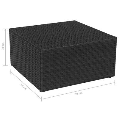 vidaXL Scaun de grădină cu taburet, negru, poliratan