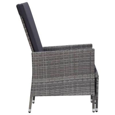 vidaXL Set mobilier de grădină cu perne, 2 piese, gri, poliratan