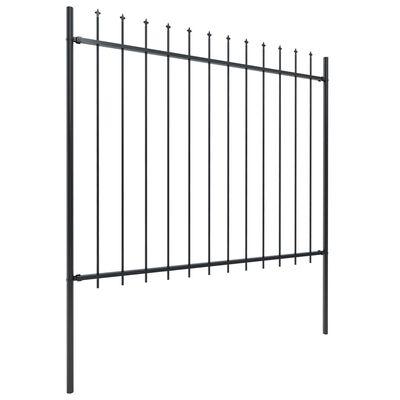 vidaXL Gard de grădină cu vârf suliță, negru, 3,4 x 1,5 m, oțel