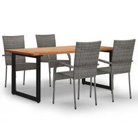 vidaXL Set mobilier de grădină, 5 piese, gri, poliratan